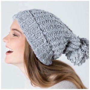 Grey metallic knit pom beanie